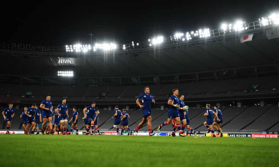 Russia's players train at the Tokyo stadium on the eve of their opening game against the hosts.