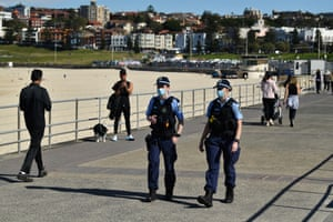 Sydney, Australia: NSW police on patrol Bondi beach after stay-at-home orders for coronavirus-hit Greater Sydney were been tightened