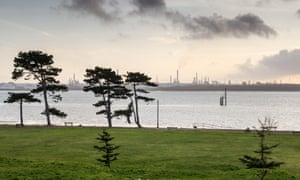 Esso's Fawley oil refinery. from Netley Country Park on the shores of Southampton Water.