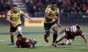 Hurricanes Ngani Laumape kicks the ball down field during the Super Rugby semifinal between the Crusaders and the Hurricanes in Christchurch.