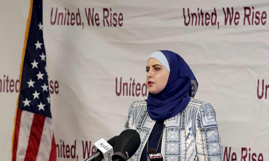 Deedra Abboud announces her candidacy for US Senate in July 2017, at the Democratic headquarters in Phoenix, Arizona.