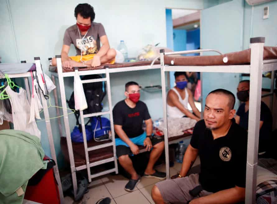 Filipino seafarers inside a dormitory in Manila