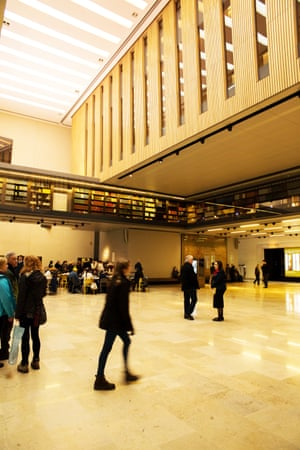 Inside the new Weston library, part of the Bodleian, in Oxford, by WilkinsonEyre, a renovation of the existing 1930s building by Sir Giles Gilbert Scott.