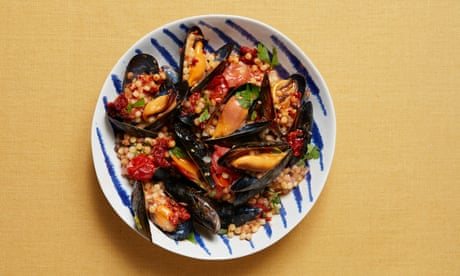 Thomasina Miers' recipe for mussels with fregola, 'nduja and baby tomatoes