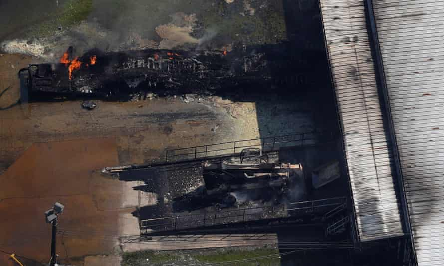 A fire burns at the flooded plant of French chemical maker Arkema in Crosby, Texas on Thursday.