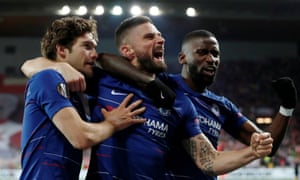 Chelsea's Marcos Alonso celebrates scoring their first goal with Olivier Giroud and Antonio Rudiger.