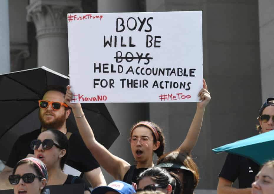 Demonstrators outside LA city hall protesting against Brett Kavanaugh's approval to the US supreme court, September 2018