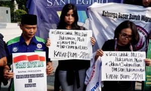A protest against the death penalty in Jakarta: activists urged the Indonesian government to halt the planned executions.