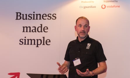 Darron Anley speaking at the Guardian Business Made Simple event in Reading, supported by Vodafone.