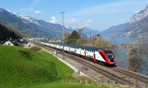 One of Swiss Federal Railways' new long-distance double-decker trains en route to Mols.