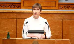 Kersti Kaljulaid addresses the Estonian parliament.