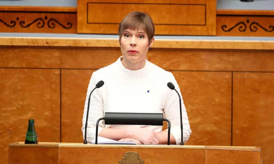 Kersti Kaljulaid addresses the Estonian parliament.