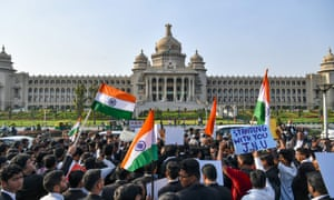 Demonstrators at the Vidhana Soudha (seat of state legislature in Karnataka state) protesting against India's new citizenship law on Thursday.