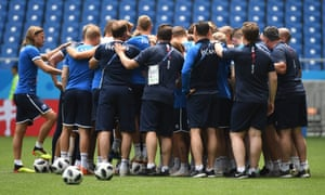 Iceland's players gather on the pitch during their final training session at the Rostov Arena before their match with Croatia on Tuesday.