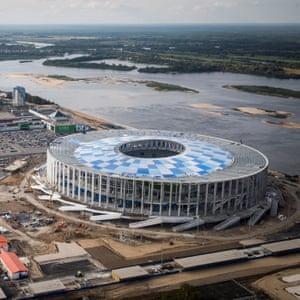 An aerial view of Nizhny Novgorod Stadium.