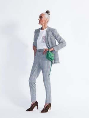 Model wears blazer, £44, and trousers, £35, both marksandspencer.com. T-shirt, £150, by Hillier Bartley, from matchesfashion.com. Boots, £150, boden.co.uk. Bag, £218, by Rebecca Minkoff, harveynichols.com.