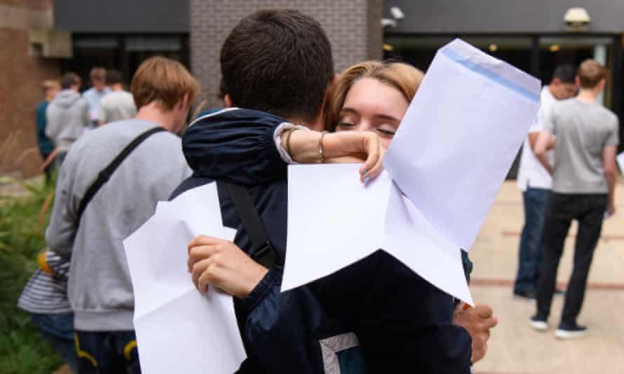 Students receive their GCSE results at Stoke Newington school and sixth form in London