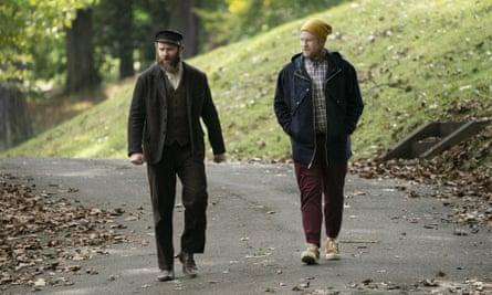Seth Rogen as, left, Herschel Greenbaum and Ben Greenbaum in An American Pickle.