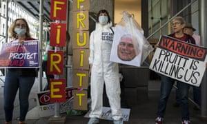 Activists in New York protest against Scott Pruitt.