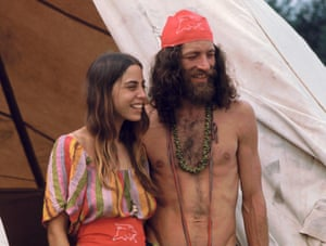 A couple attending the Woodstock Music Festival, August 1969.
