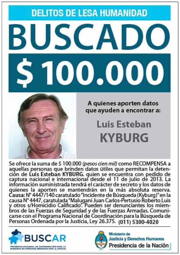 A wanted poster for Luís Esteban Kyburg.