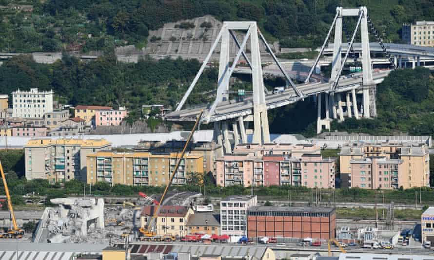 The partially collapsed Morandi bridge, in Genoa, 19 August 2018.