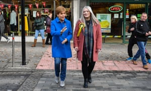 SNP leader Nicola Sturgeon with the party's candidate for East Dunbartonshire, Amy Callaghan.