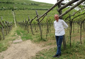Alois Lageder at one of his vineyards, South Tirol, Italy.