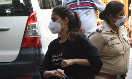 Rhea Chakraborty outside the NCB office on Tuesday.
