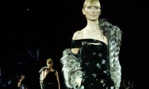 A Giorgio Armani ensemble on the catwalk.