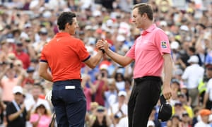 Rory McIlroy (left) is congratulated by Webb Simpson of the United States after winning the Canadian Open by seven shots and threatening to break 60 for much of the afternoon.