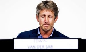 Edwin van der Sar speaks about Abdelhak Nouri during a press conference in Amsterdam on Monday.