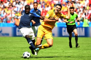Australia's Tom Rogic is tackled by N'Golo Kanté of France