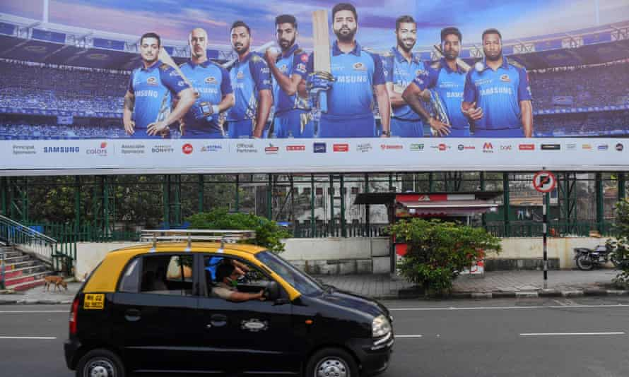 Mumbai Indians displayed on a billboard promoting the IPL.