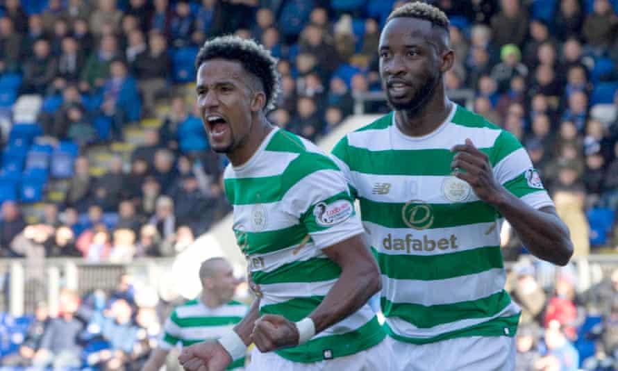 Scott Sinclair celebrates scoring Celtic's opening goal against St Johnstone in the Scottish Premiership.