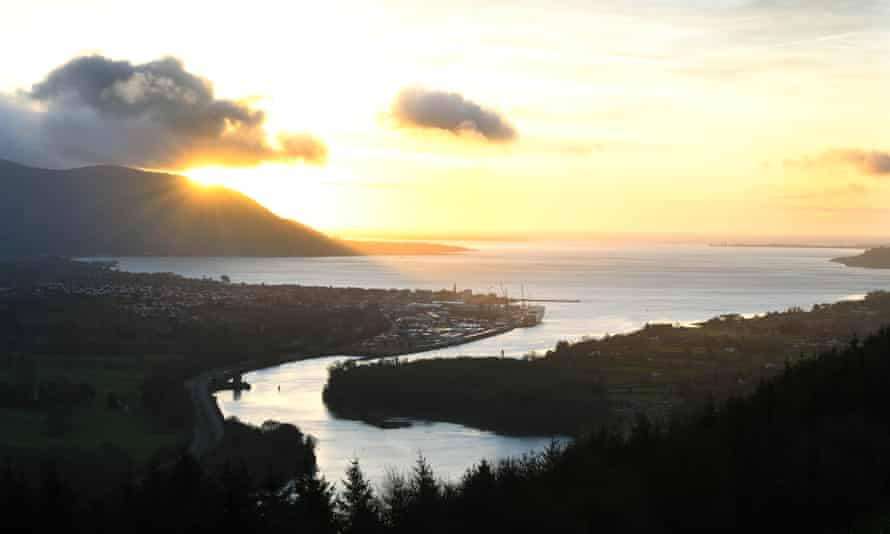 Newry River looking into Carlingford Lough Ireland and Northern Ireland
