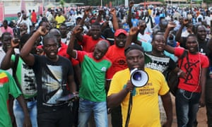 Protesters stage a rally against the presidential guard in the Burkina Faso capital.