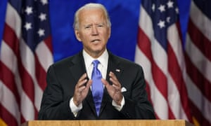 Joe Biden speaks during the Democratic National Convention, 20 August 2020.