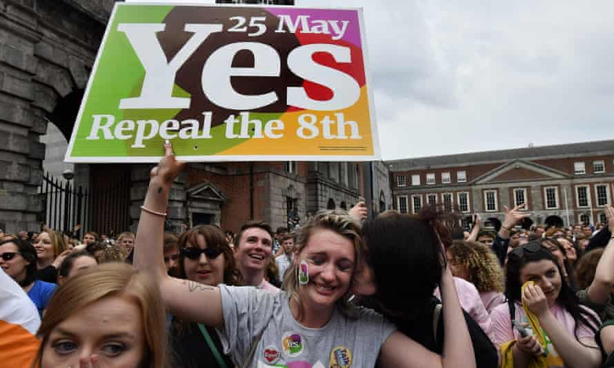 A Yes voter breaks down in tears at the result of the Irish referendum