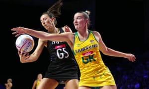 New Zealand's Bailey Mes and Australia's Courtney Bruce