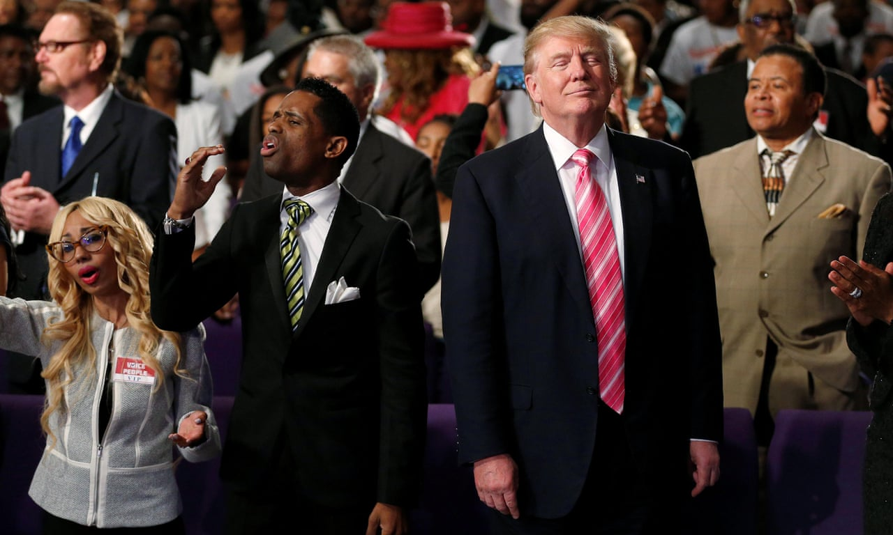 Trump dances and prays at black church service in Detroit – video | US news  | The Guardian