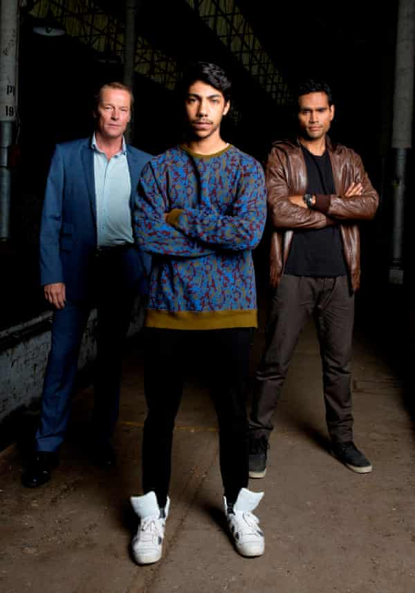 Iain Glen, Hunter Page-Lochard and Rob Collins, who star in ABC TV show Cleverman