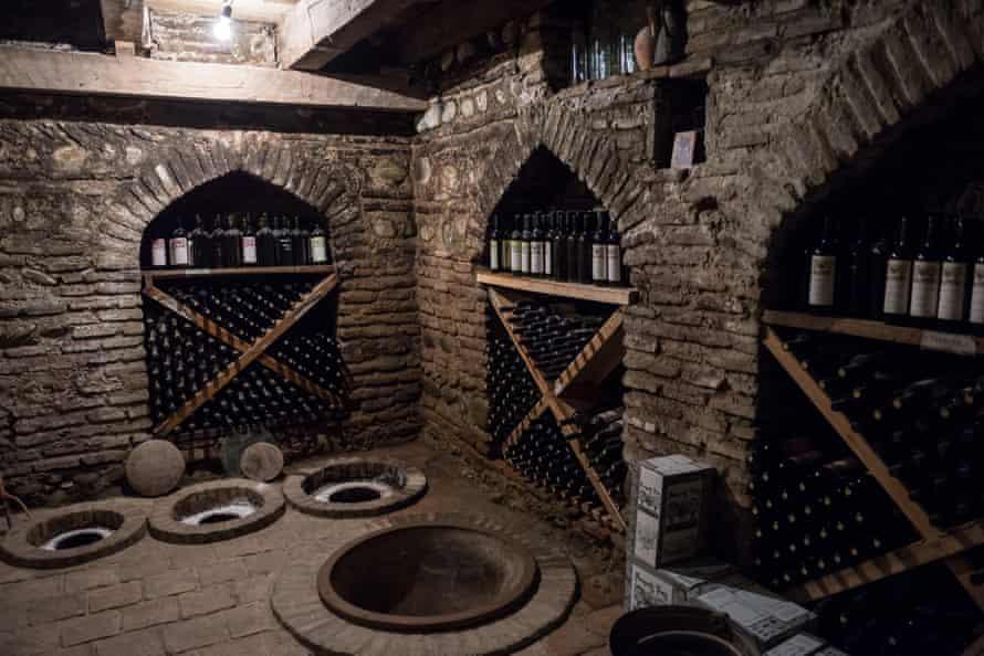 Kvevri vessels in the wine cellar of Pheasant's Tears.