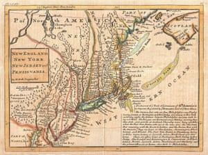 1729 moll map of new york new england and pennsylvania first postal map