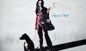 Graffito –woman smoking with dog