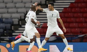Israel's Eran Zahavi (right) celebrates scoring against Scotland in the Nations League