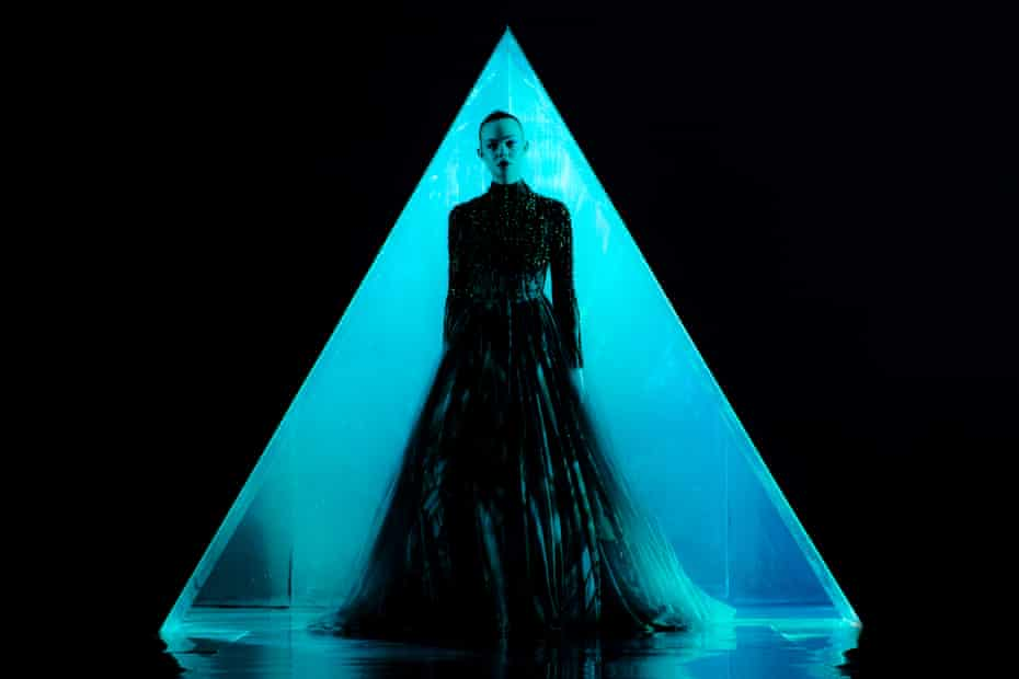 On the set of The Neon Demon.