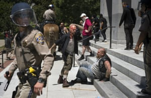 Several people were stabbed at the rally, where rightwing extremists clashed with leftwing counter protesters.