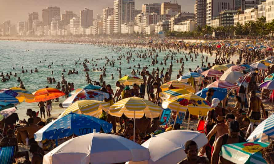 Crowded Ipanema beach in Rio de Janeiro