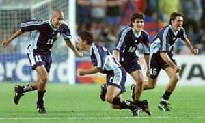 Juan Verón, Marcelo Gallardo, Ariel Ortega and Sergio Berti are jubilant as David Batty's penalty is saved